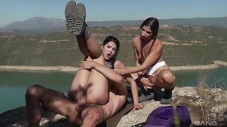 Lady Dee and Clea Gaultier in hot outdoor dick sharing XXX