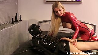 Dominant Lady Estelle is the real master of BDSM games and a handjob