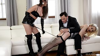 Chessie Kay and Linda J love to play BDSM games in a threesome