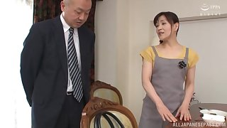 Horny guy asks his maid Ukita Kaori to fuck with him all day long