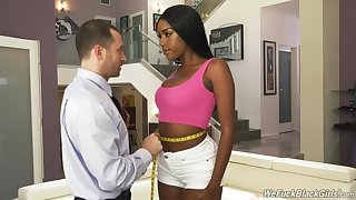 Ebony Ashley Aleigh loves sucking before she jumps on a hard cock