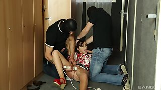Masked men gag the teen slut in dirty trio