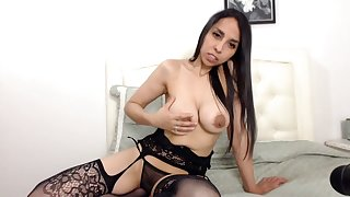 Matured latina showed her big biack tits and lingerie