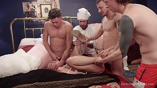 Brutal gangbang with double penetration for slut Roxanne Rae