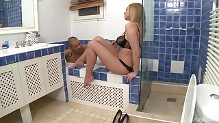 Lovemaking in suit each other with good looking light-complexioned Lexi Love