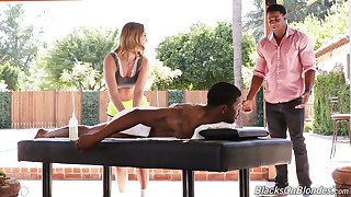 Malicious dudes share this hot masseuse in a very harsh XXX act out