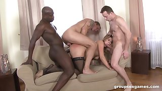 Three men fucking the wife and creaming her face hard